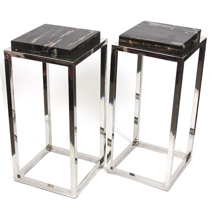 Mid Century Modern Chrome and Marble Side Tables
