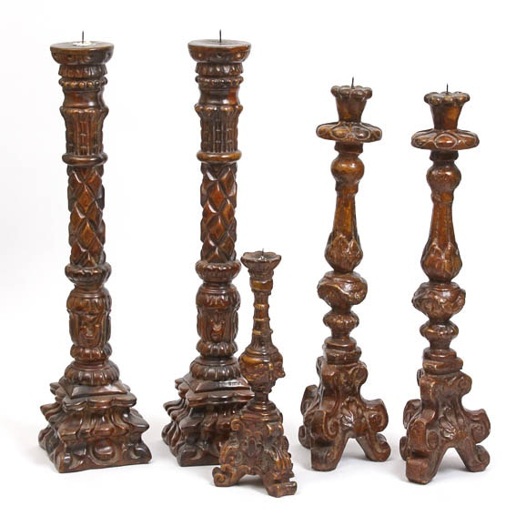 Set of Faux Wood Candlesticks