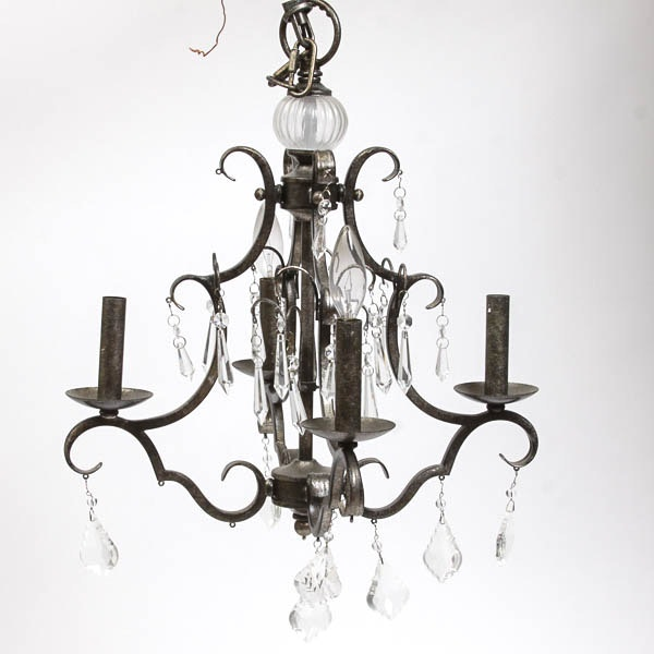 Metal and Glass Chandelier