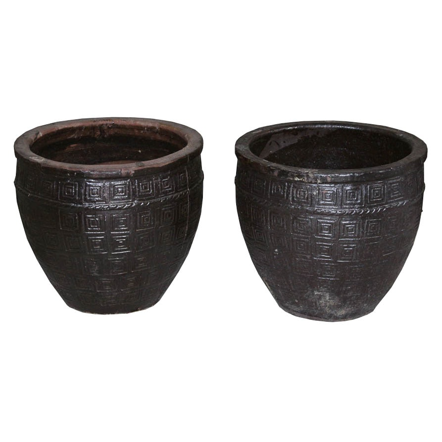 Pair of Large Outdoor Pottery Planters