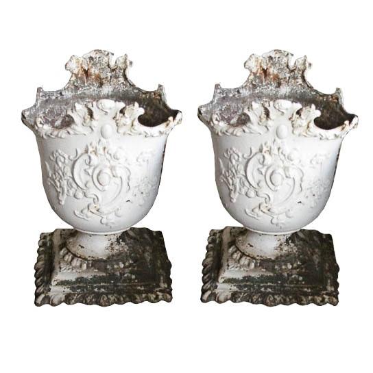 Antique Cast Iron Garden Urns