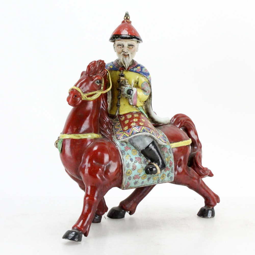 Chinese Rider Figurine on Red Horse
