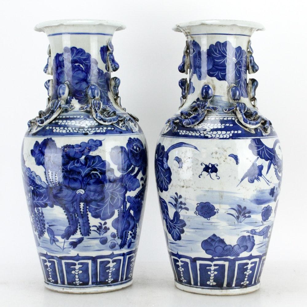 Chinese Cobalt on White Porcelain Vases