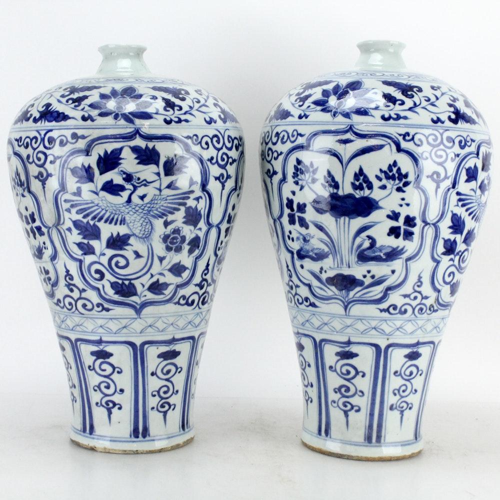 Pair of Chinese Blue and White Ceramic Plum Vases
