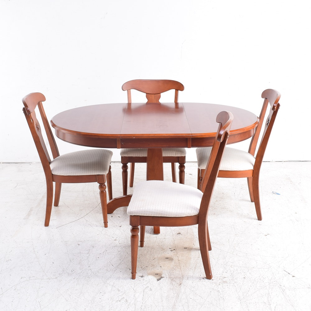 Cherry Extension Dining Table with Four Side Chairs