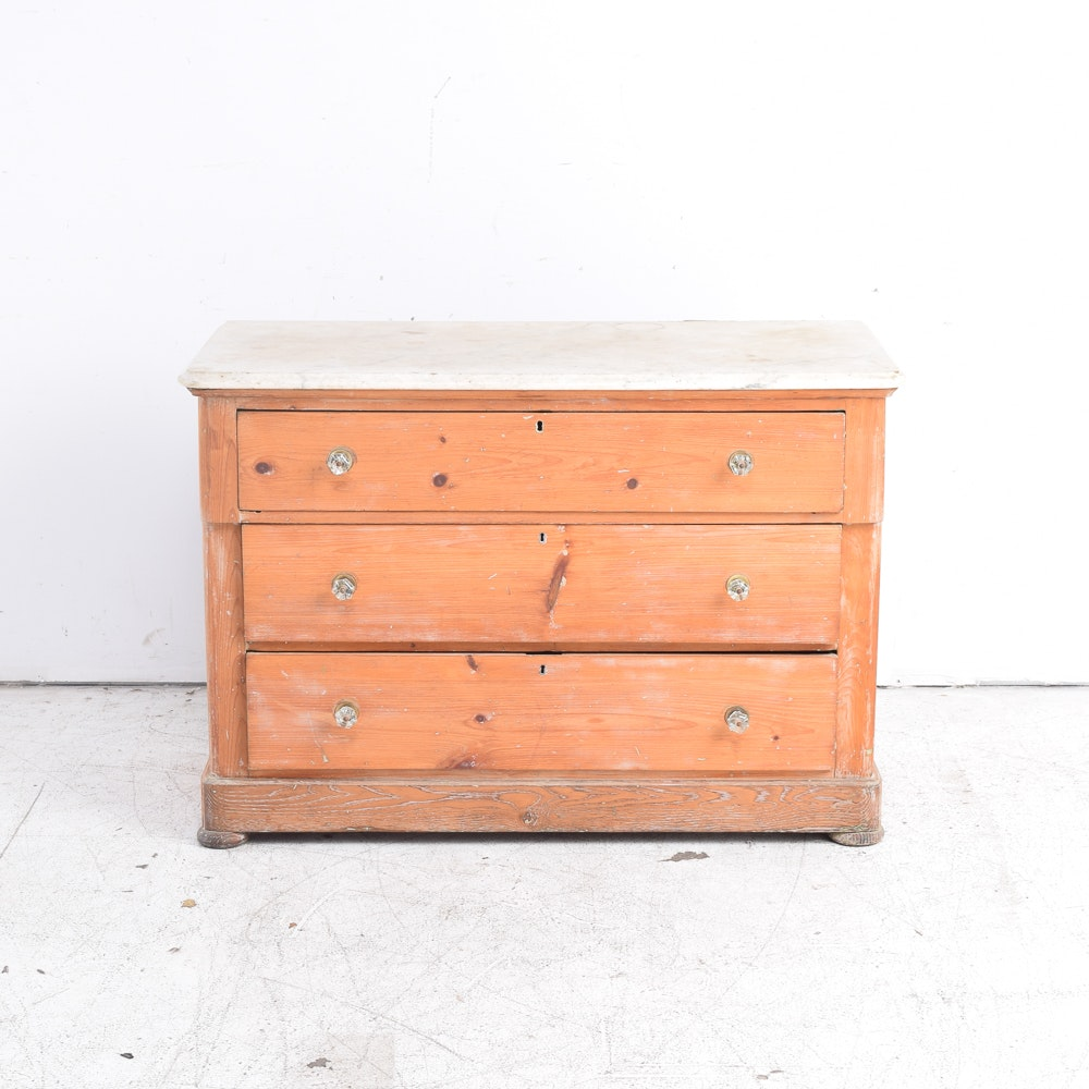 Antique Pine Chest of Drawers with Marble Top