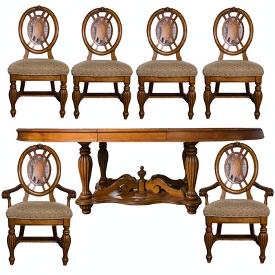 Jacobean Revival Style Dining Table and Chairs by American Signature - Online Furniture Auctions Vintage Furniture Auction Antique