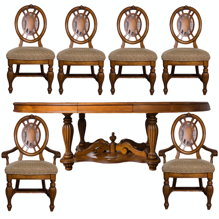 Jacobean Revival Style Dining Table And Chairs By American Signature Ebth