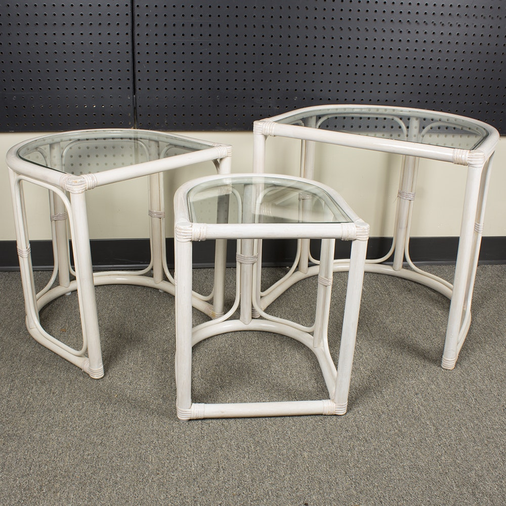 Set Of Painted Rattan Nesting Tables ...