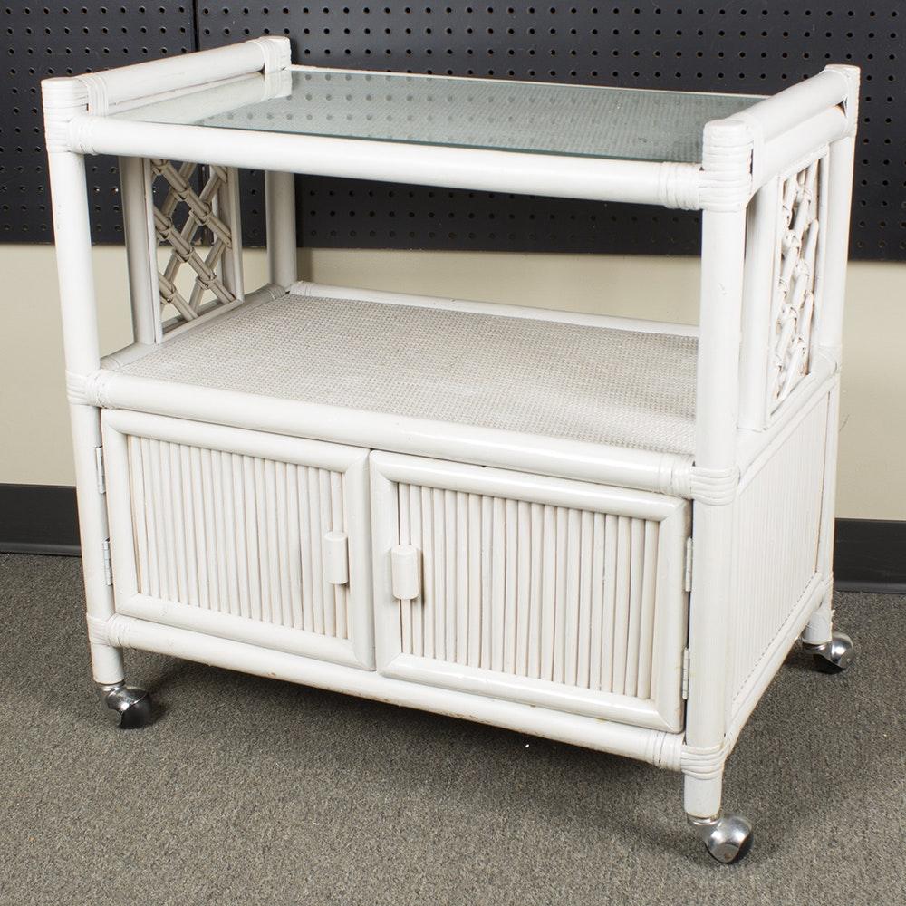 White Wicker Rolling Cart