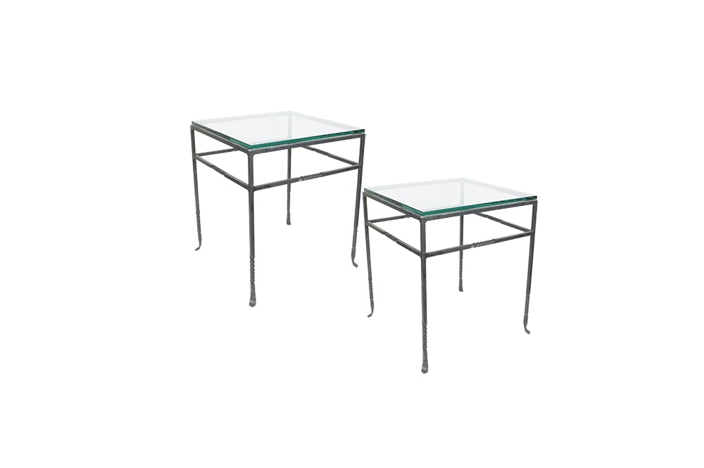 Pair of Glass Topped Metal Side Tables