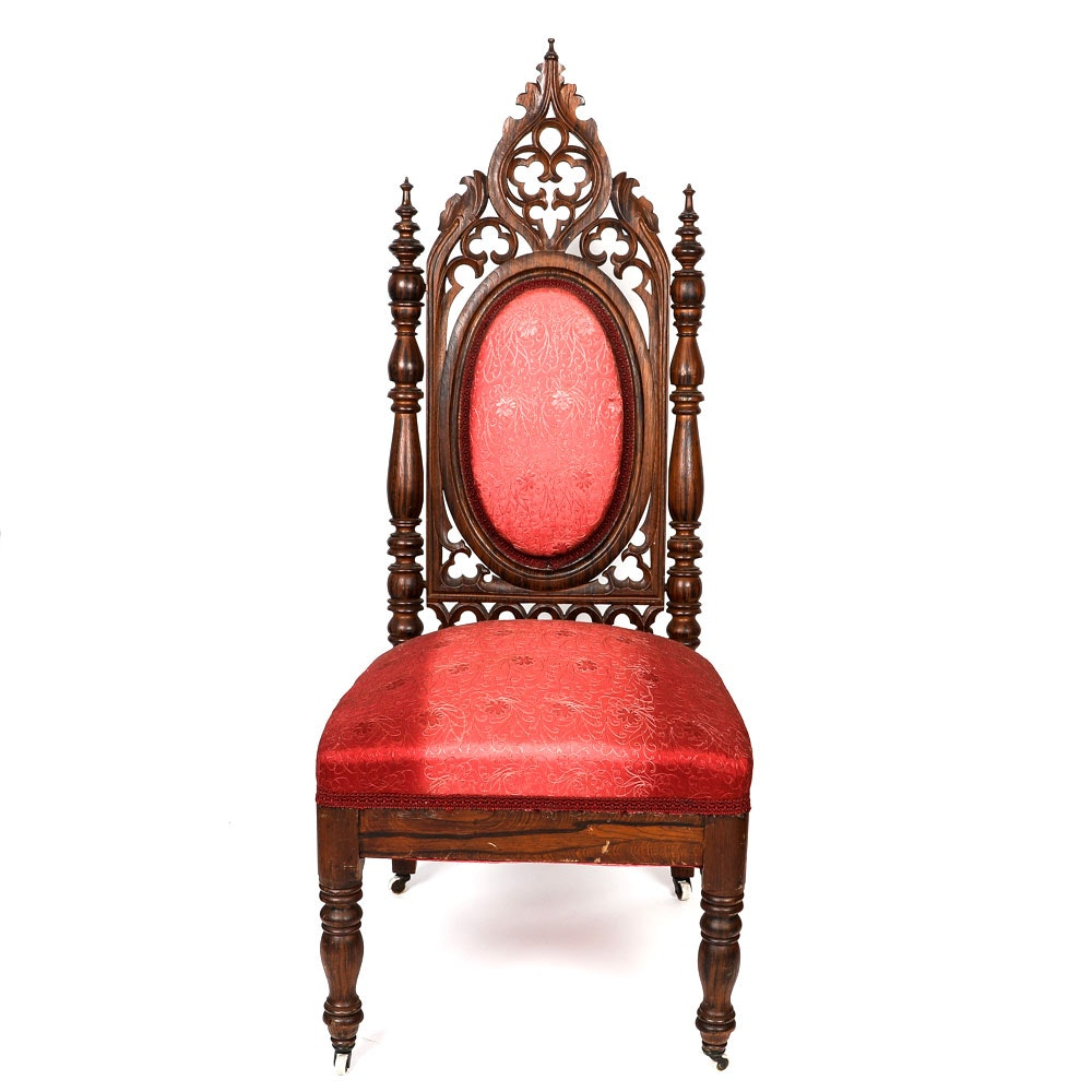 Antique American Gothic Revival Walnut Side Chair