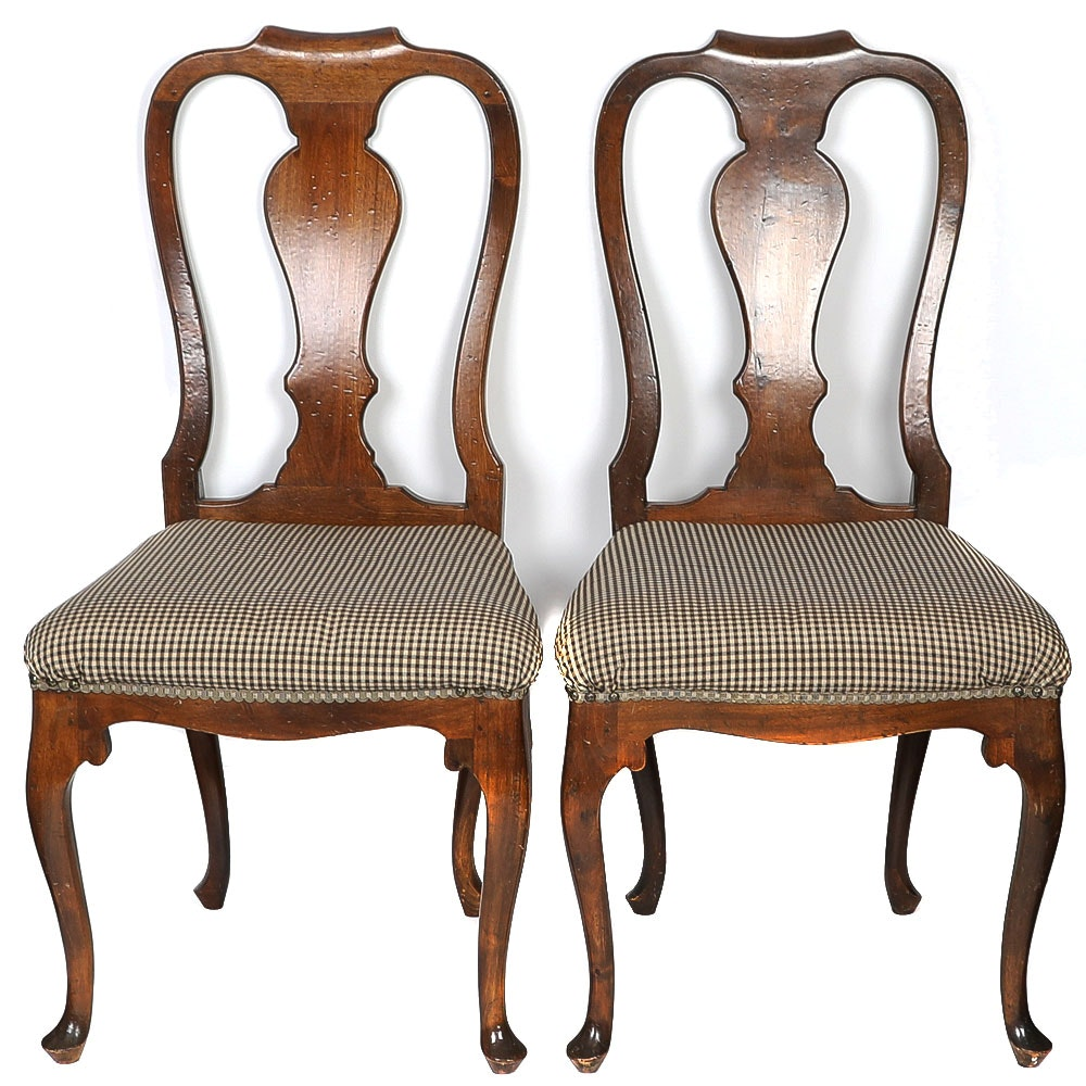 Pair of Antique Walnut Queen Anne Side Chairs