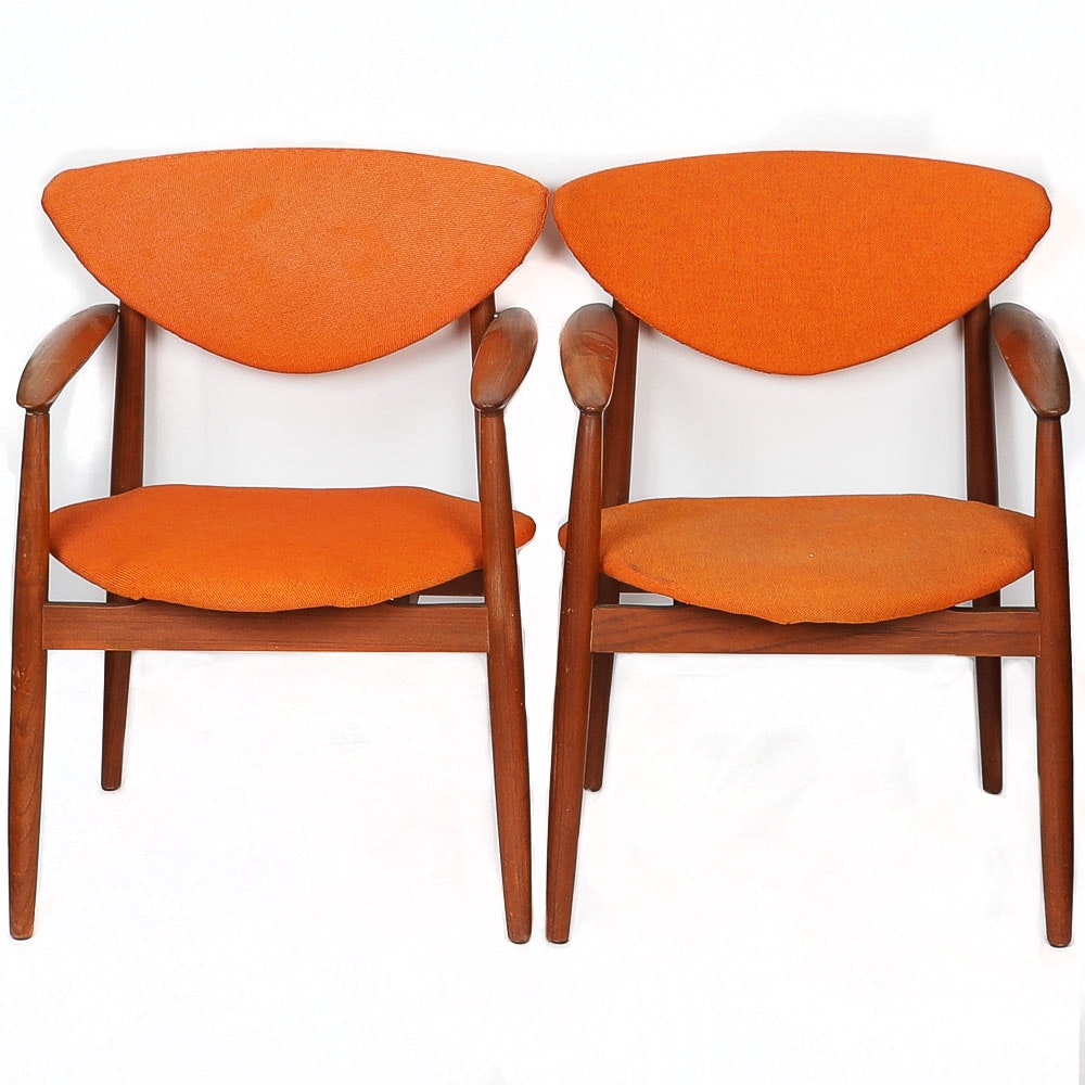 Danish Modern Style Teak Armchairs with Orange Upholstery