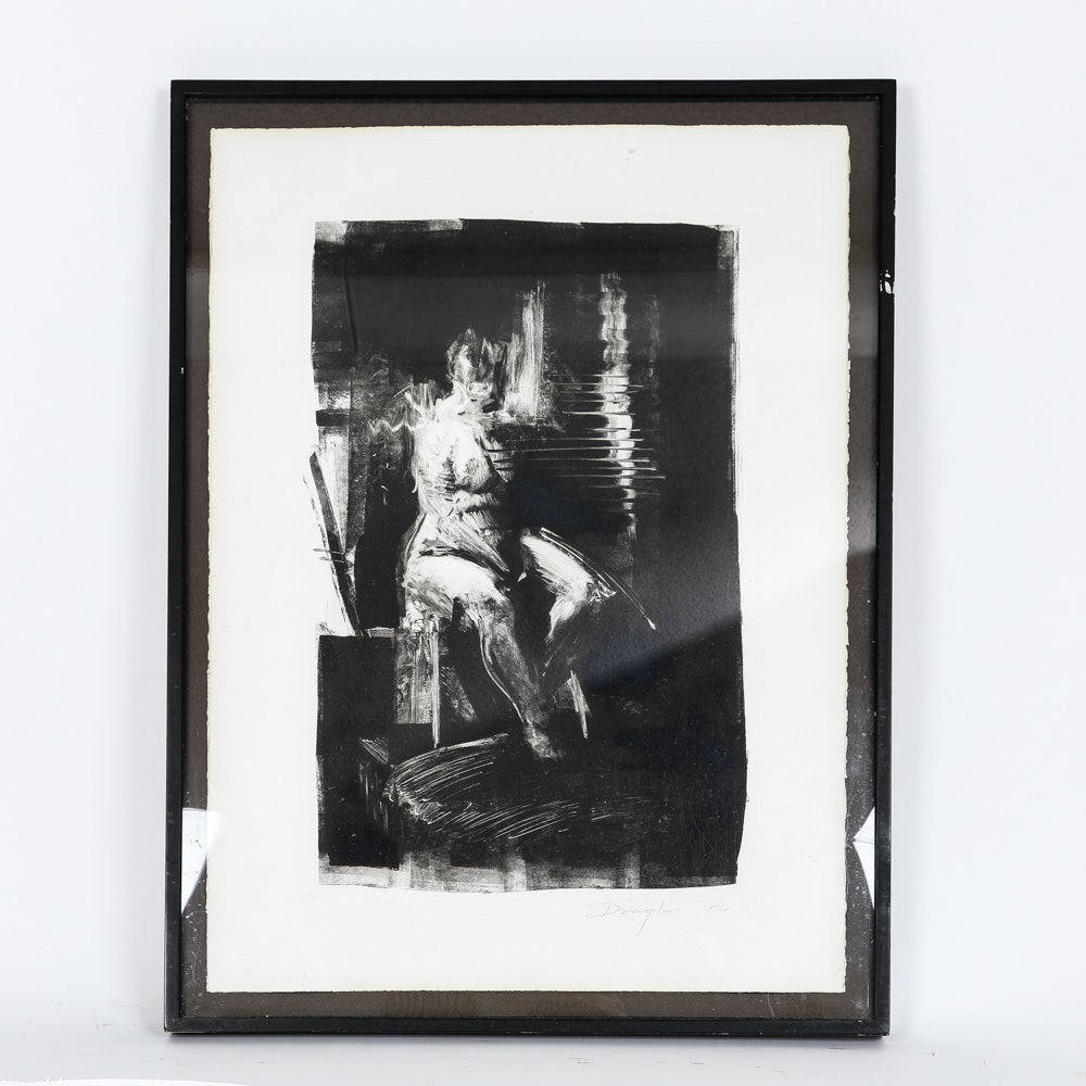 Douglas Abstract Lithograph on Paper of Female Nude