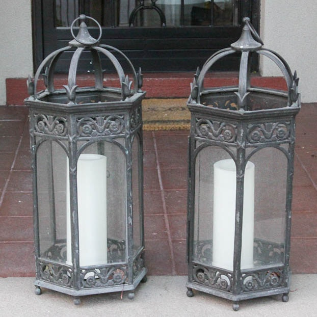 Pair of Vintage Outdoor Candle Lanterns