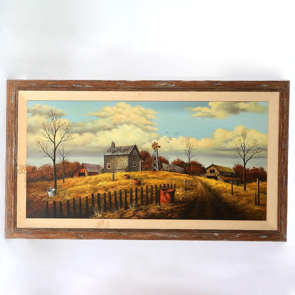 Acrylic Painting of a Farm Scene