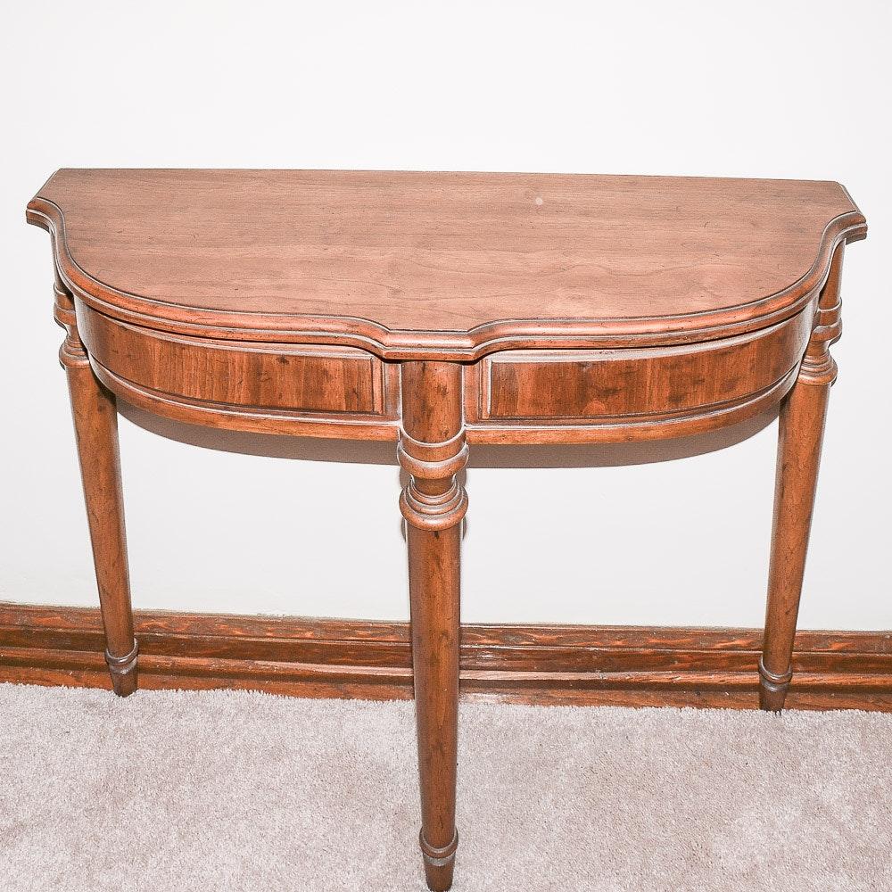 Demilune Walnut Console Table