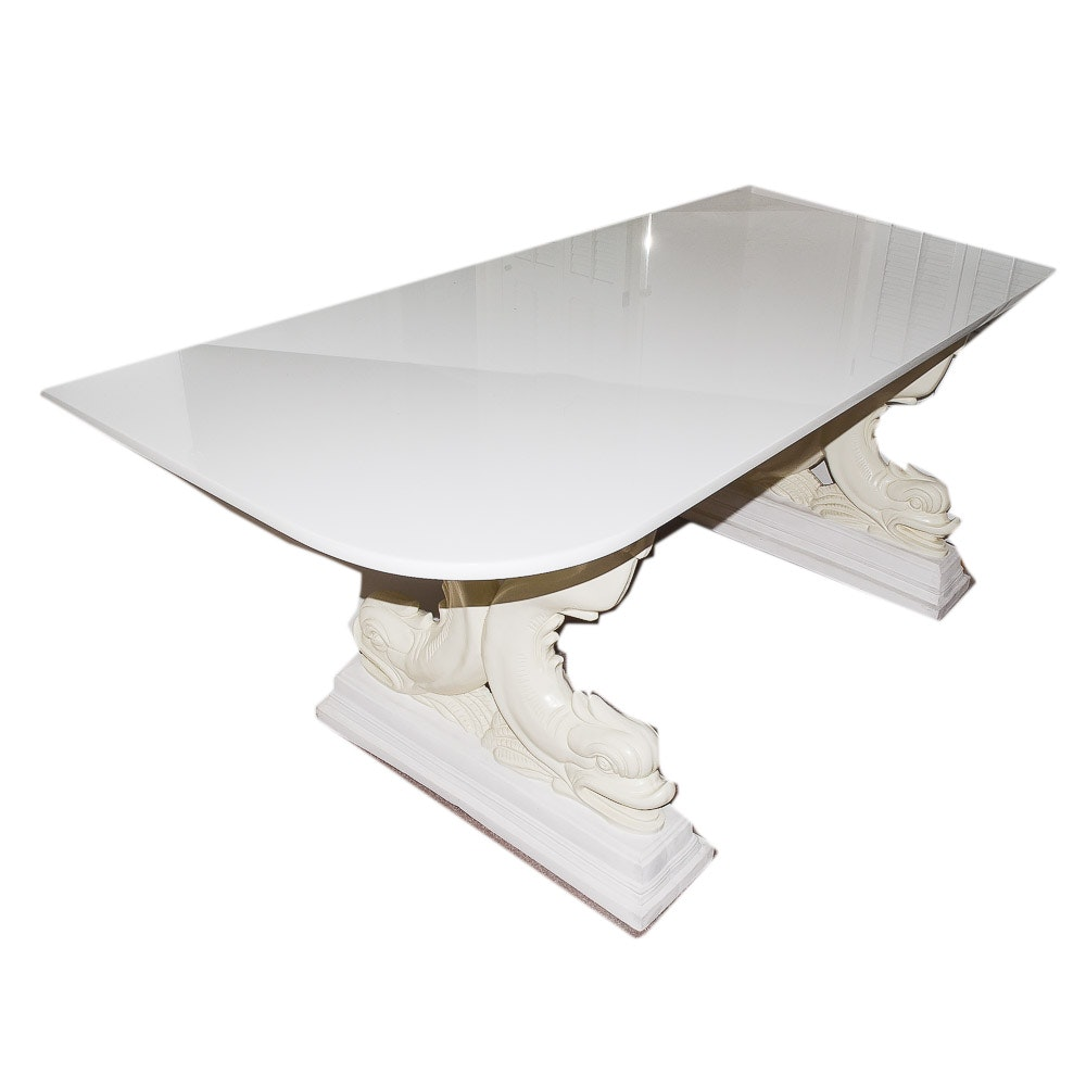 White Marble Top Dolphin Base Table