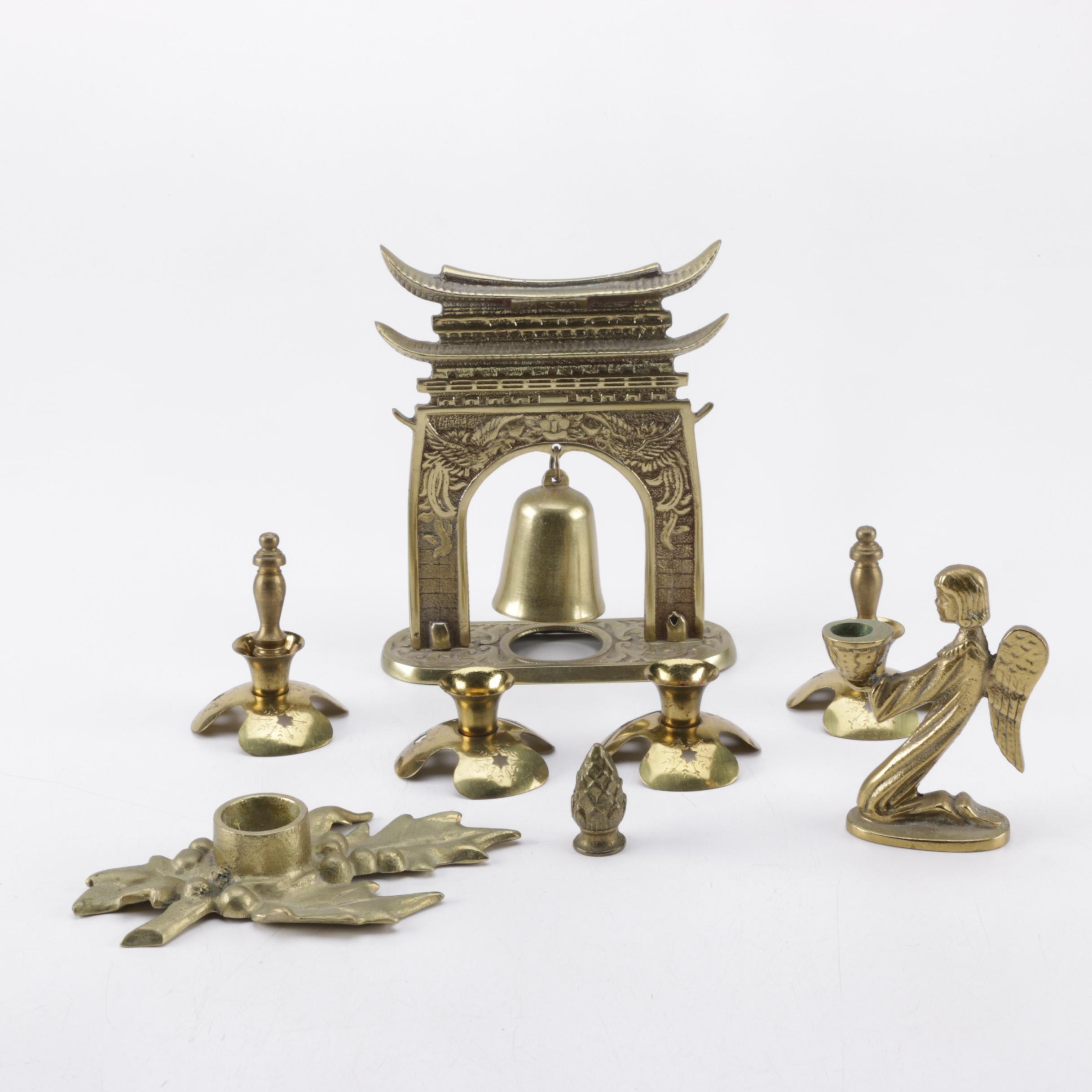 Assortment of Brass Candle Holders and Decor