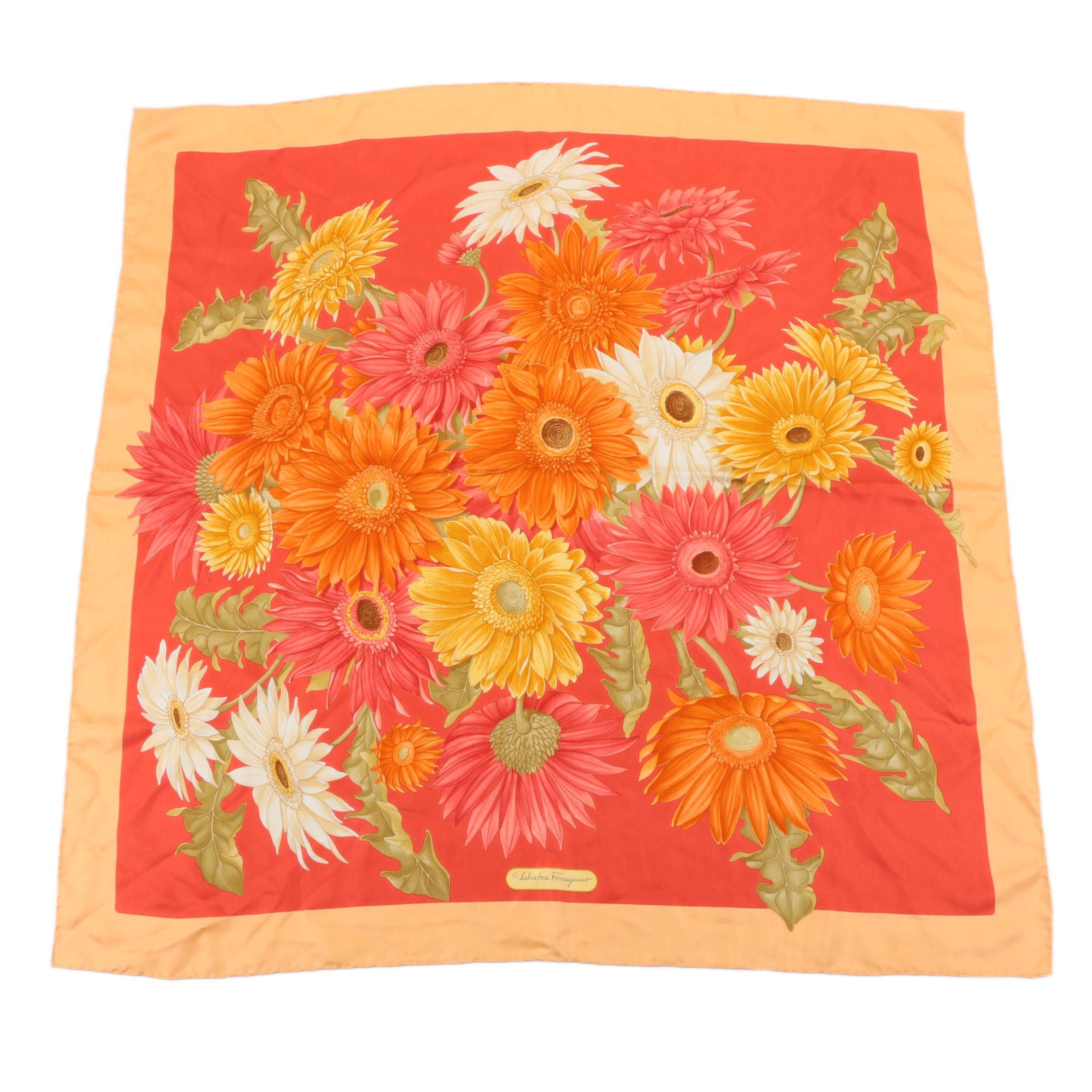 Ferragamo Floral Silk Scarf