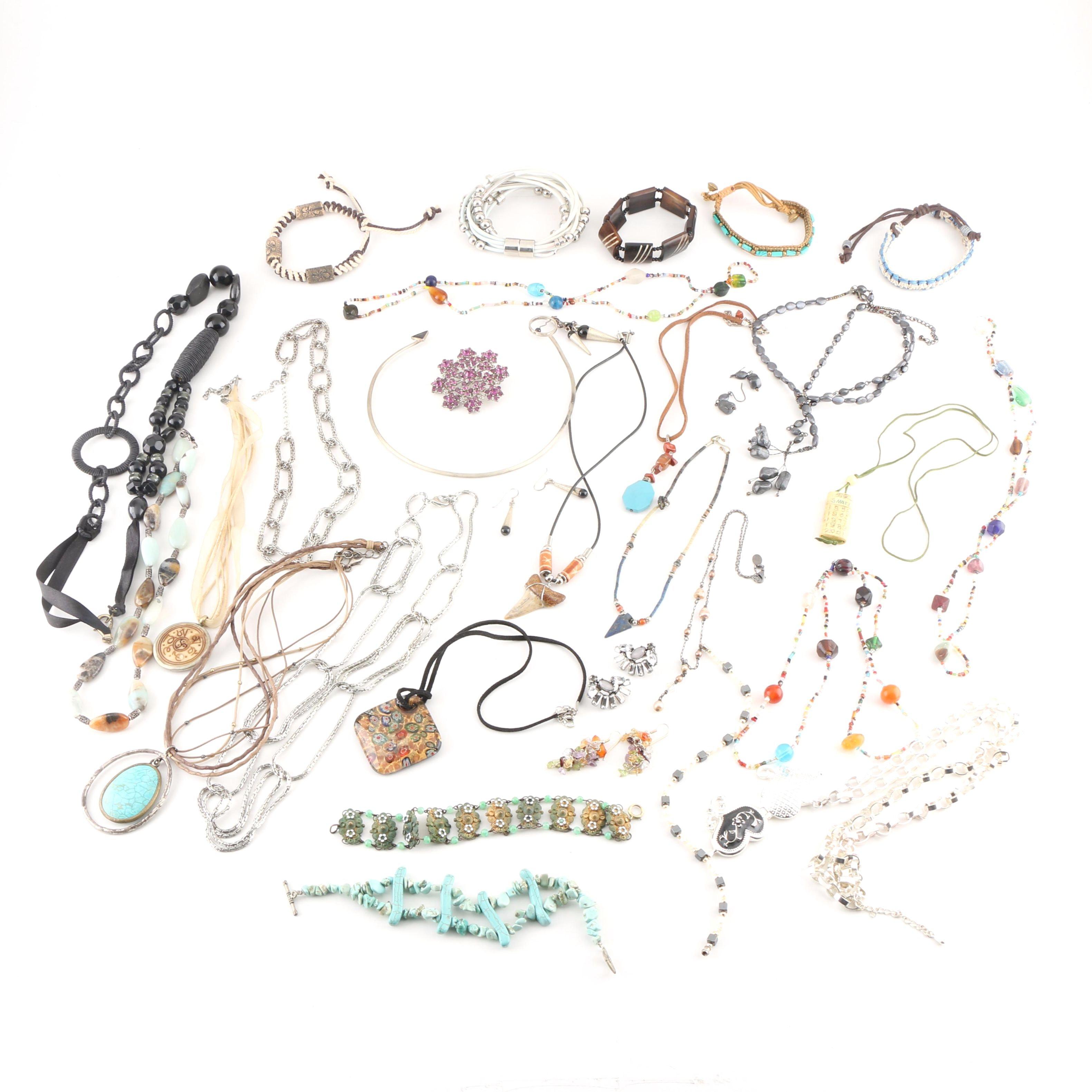 Assortment of Costume Jewelry Including Gemstones