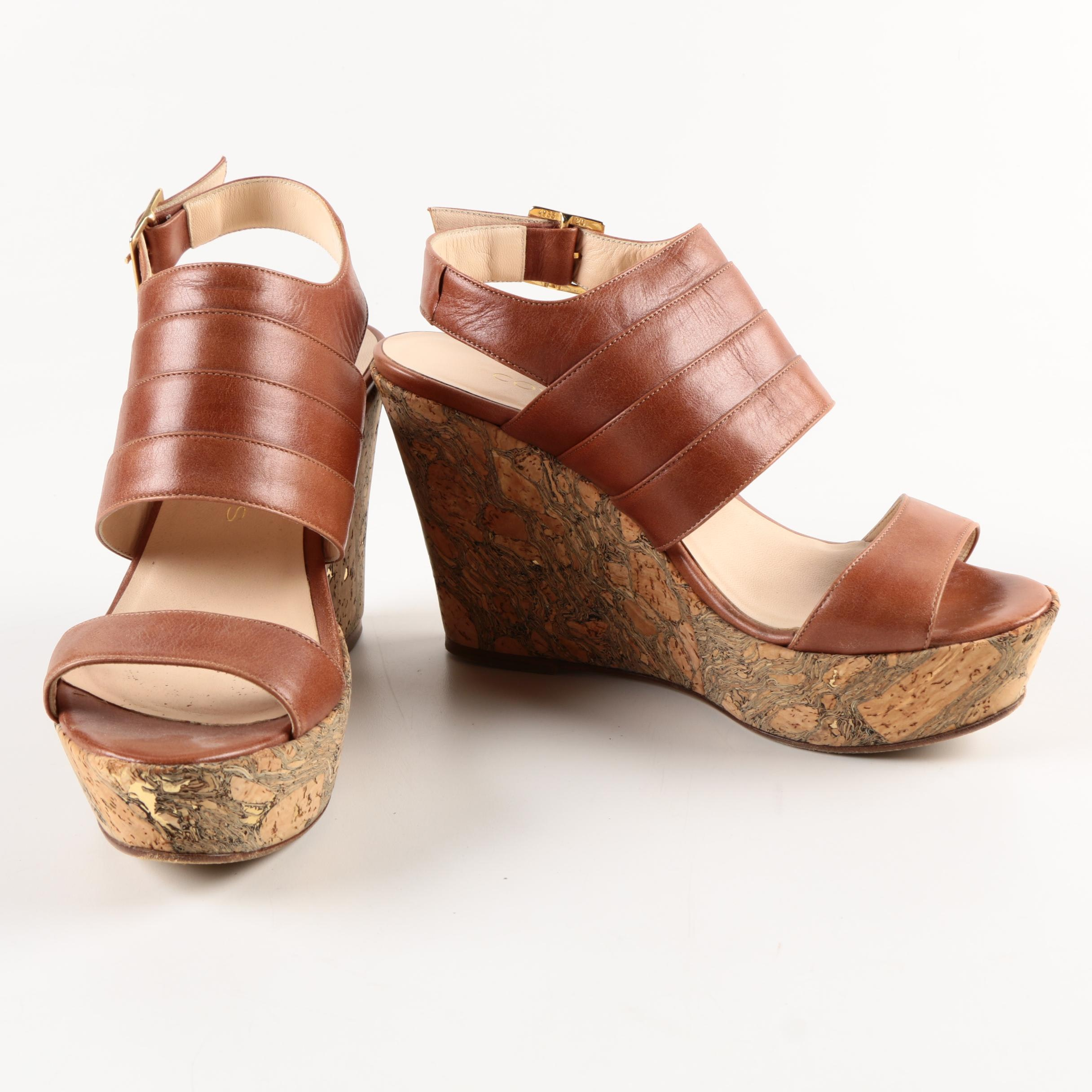 Coye Nokes Brown Leather Wedge Sandals