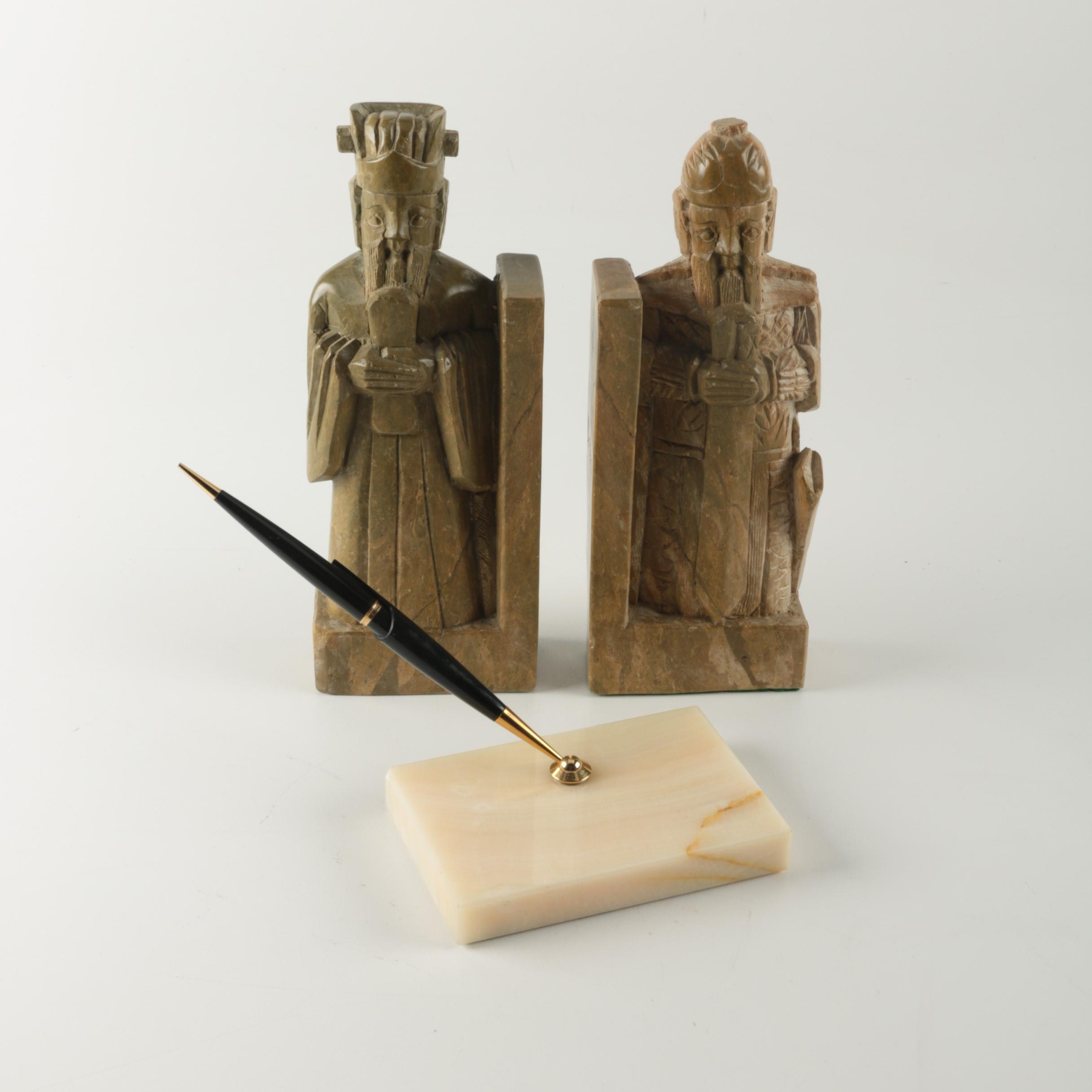 Parker Pen and Agate Pen Holder with Soapstone Bookends