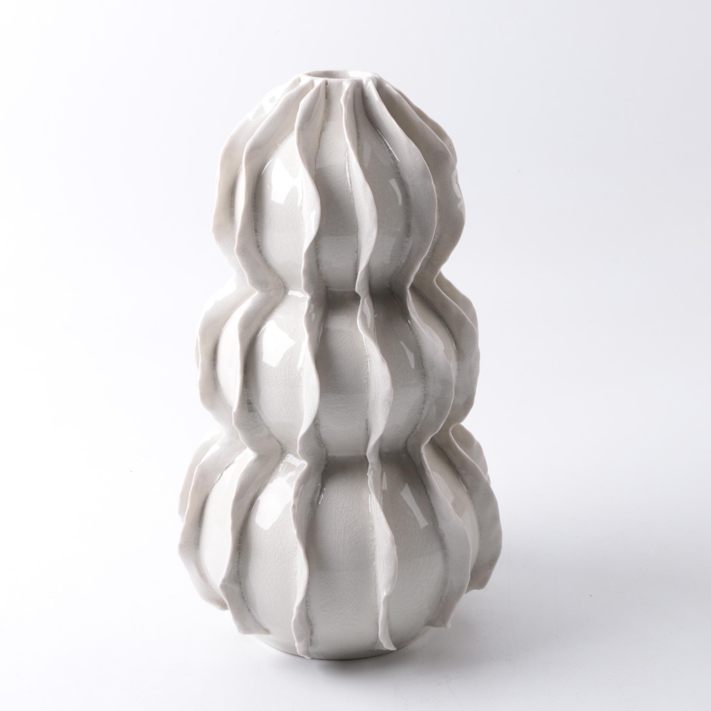 Mid Century Modern Style Ruffled Ceramic Vase