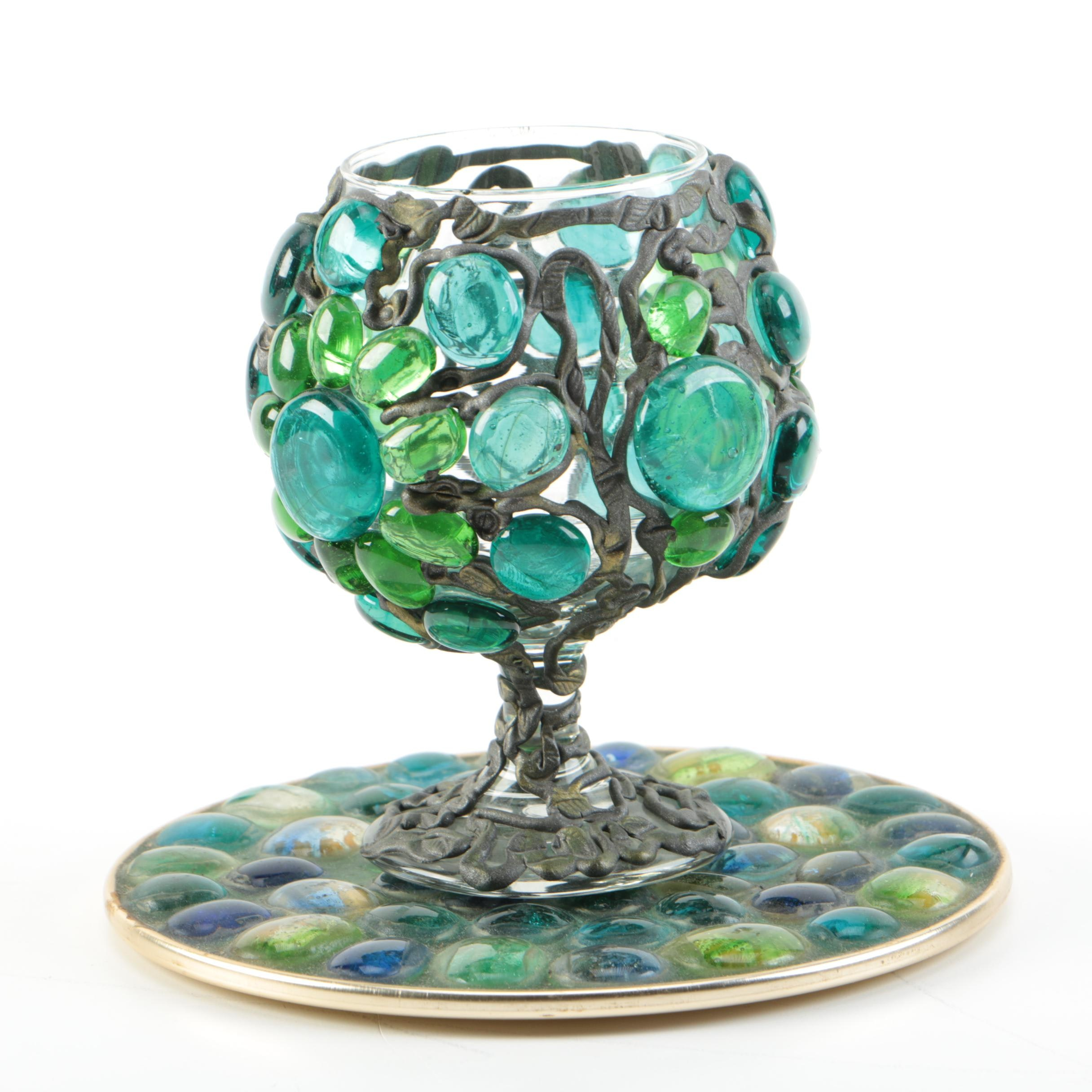 Mosaic Glass Goblet and Decorative Plate