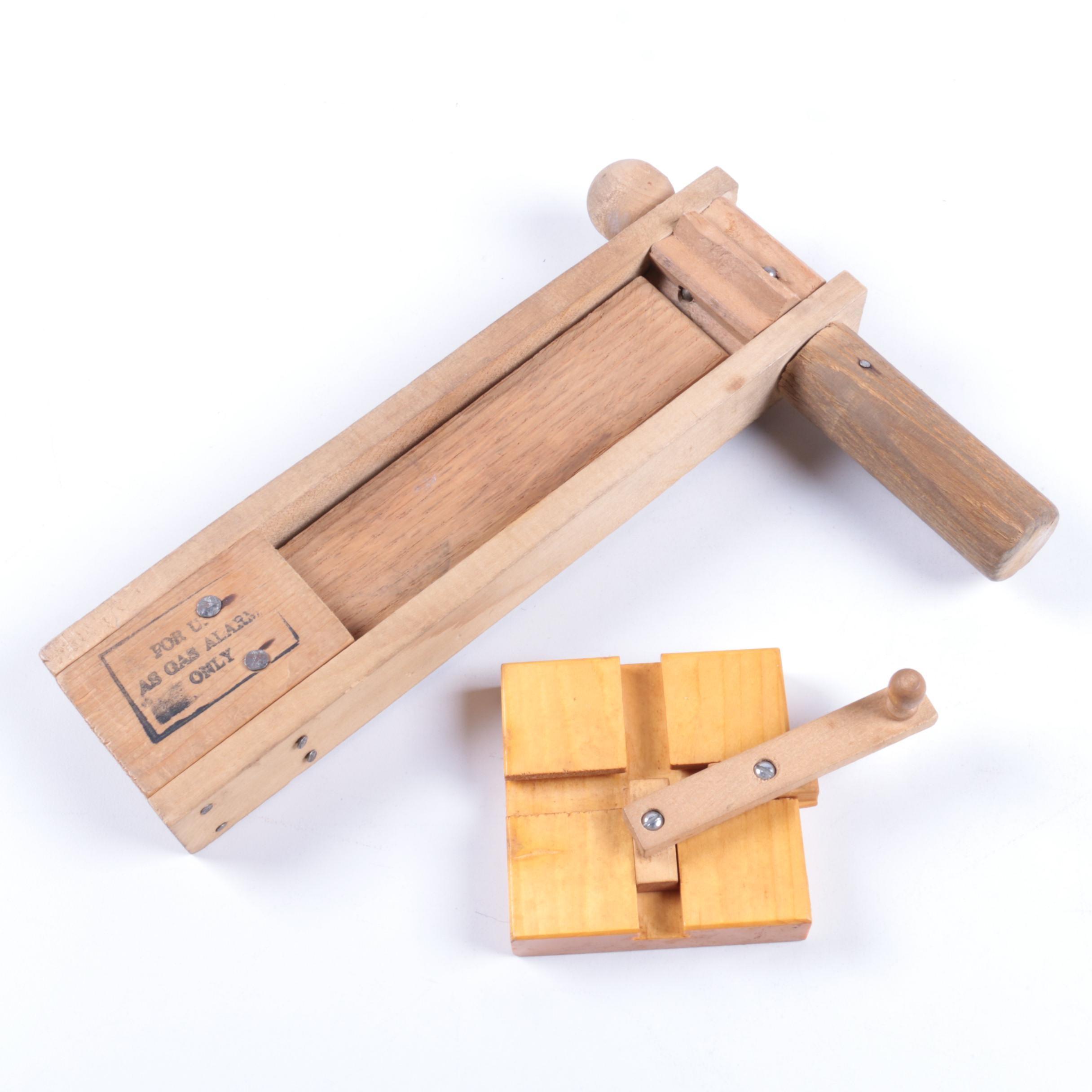 Vintage Wooden Gas Alarm Rattle and B.S. Grinder