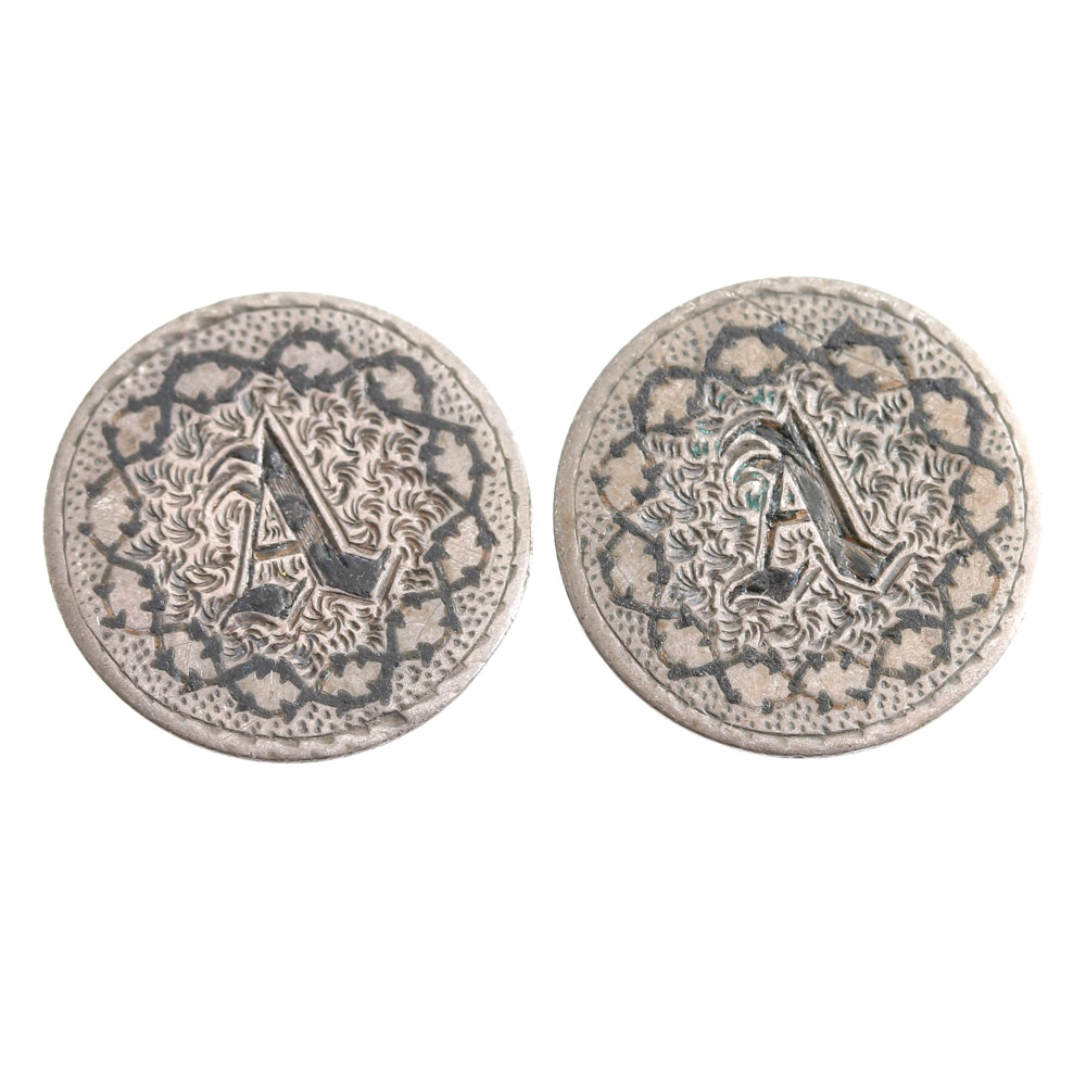 1839 and 1841 Liberty Seated Dimes Made into Collar Buttons
