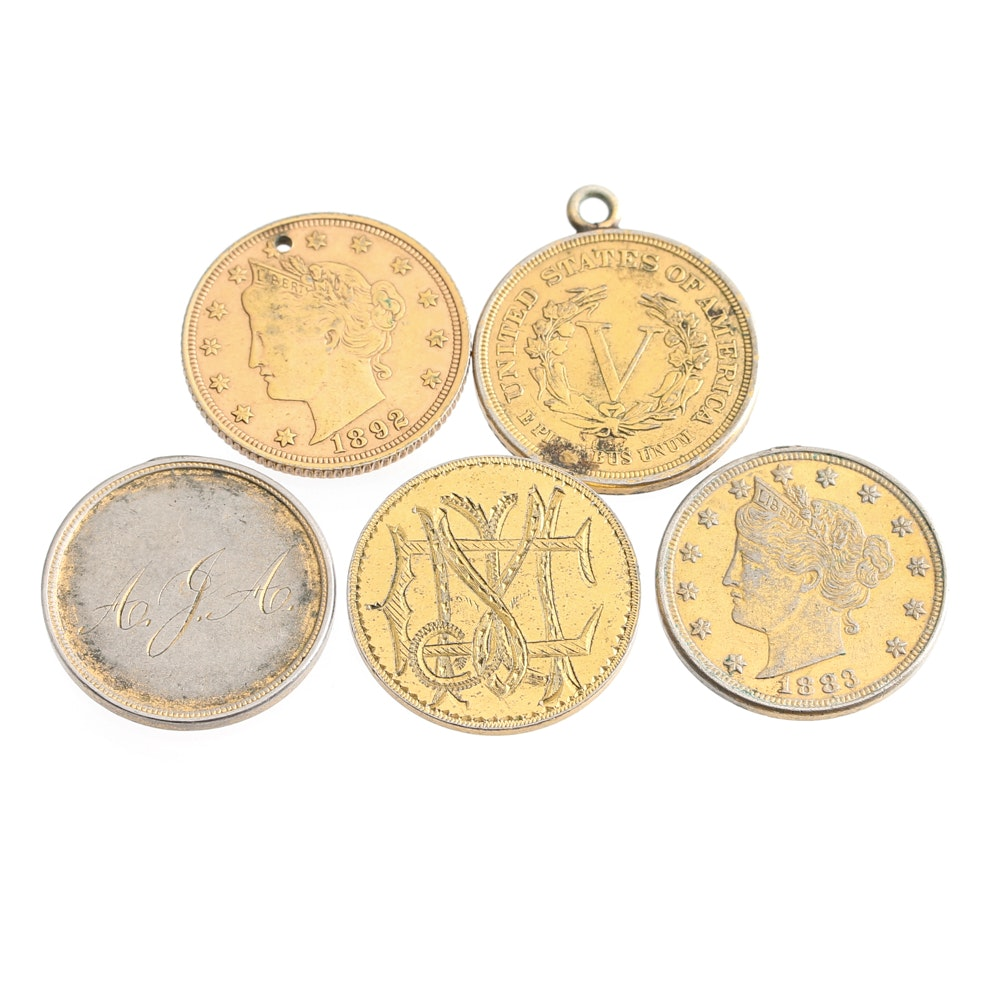 "Five Liberty Head 'Rackateer Nickel"" Love Tokens"