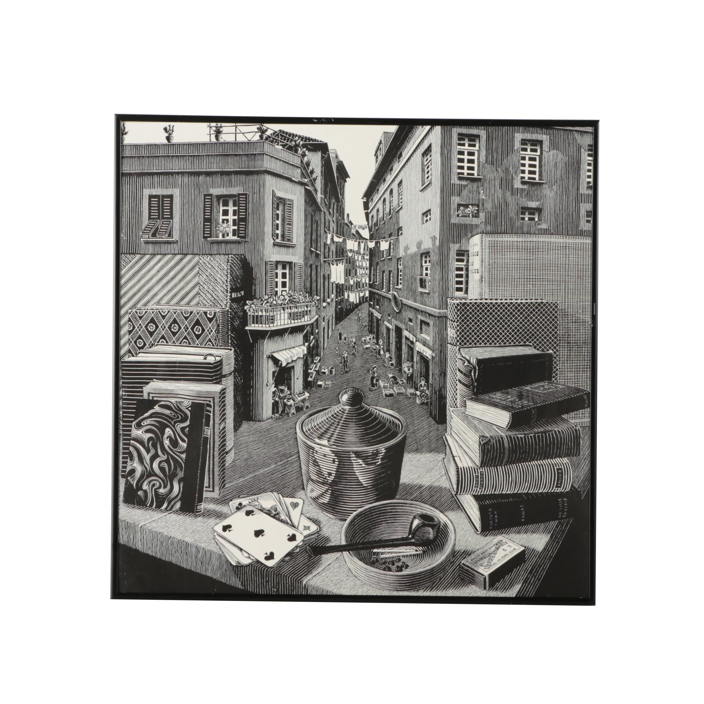 """Reproduction Lithograph after """"Still Life and Street"""" by M.C. Escher"""