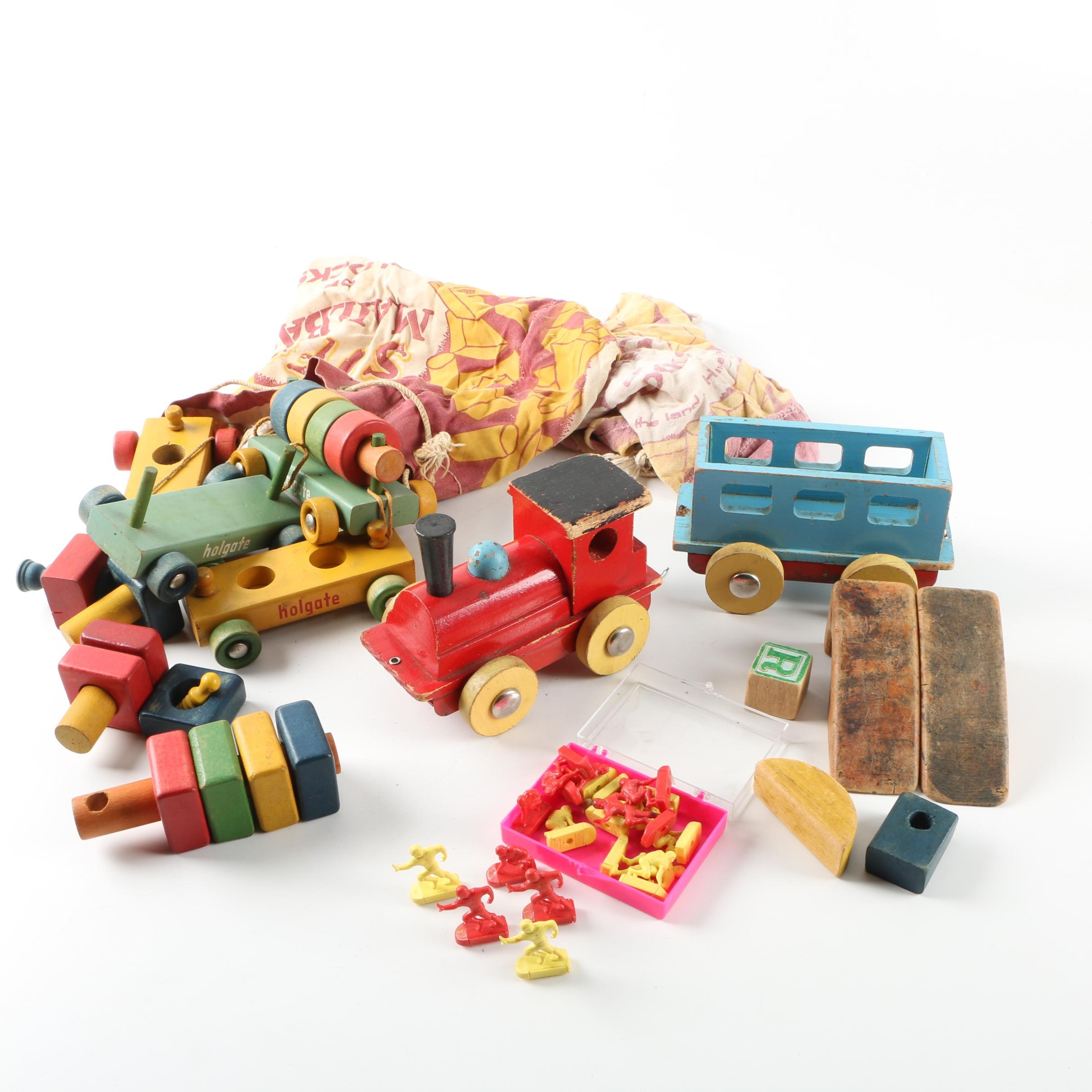 Assorted Vintage Wood Blocks and Toys