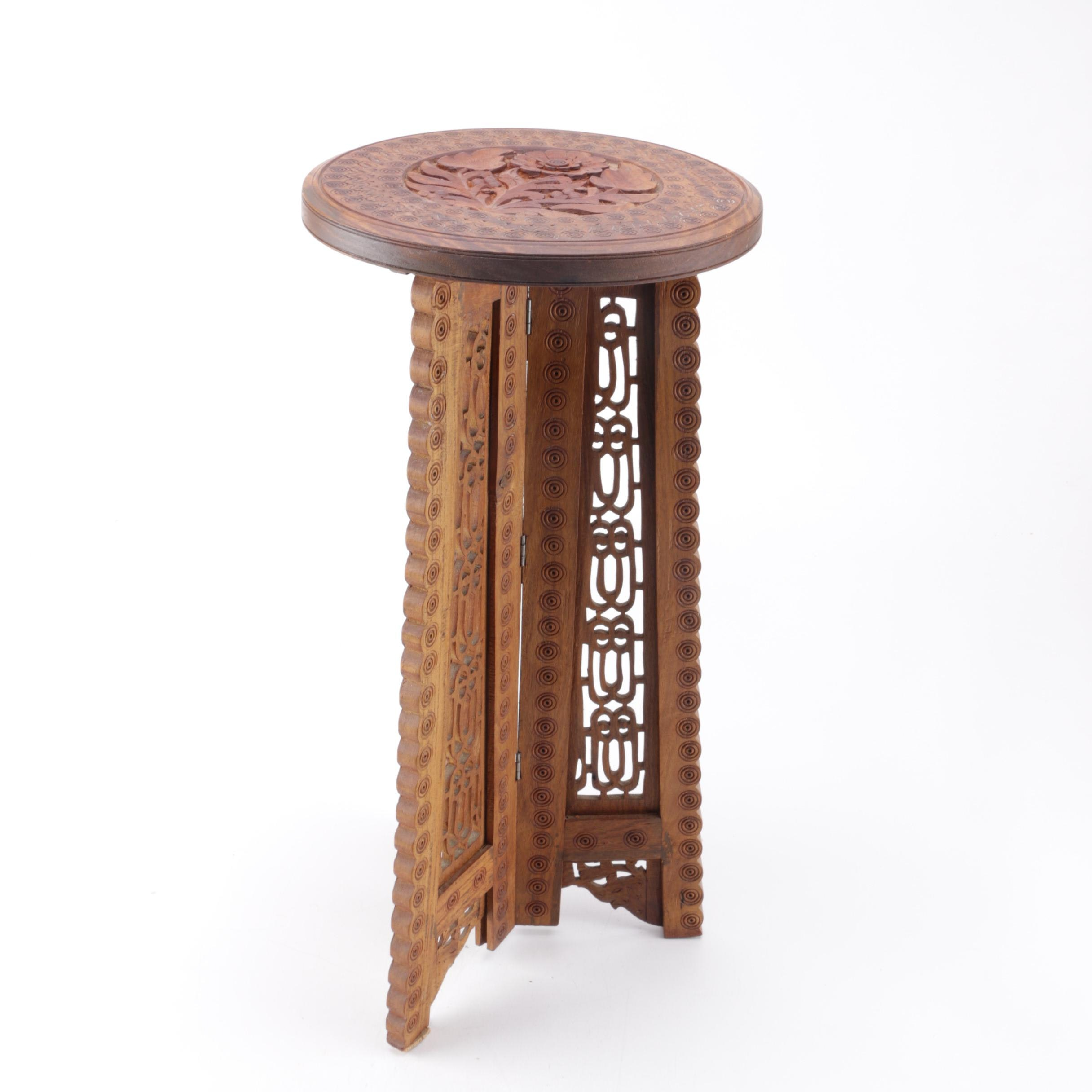 Carved Oak Accent Table