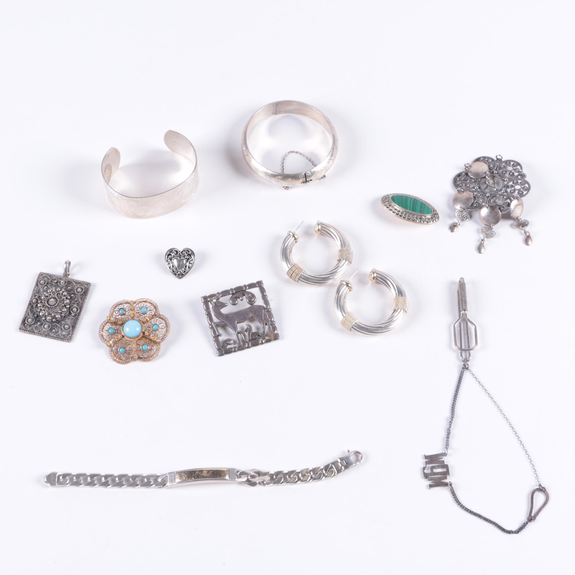 Selection of Sterling Silver Jewelry Including a Norwegian Brooch
