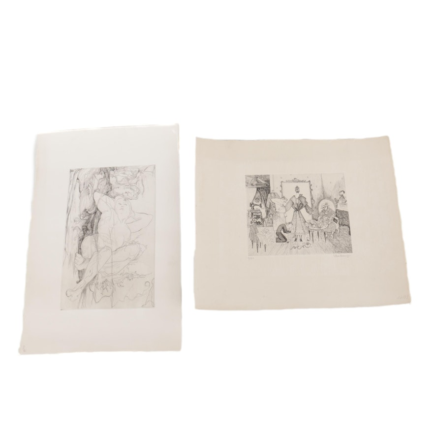 Two Etchings Including Suzanne Balkanyi S Salon De Couture And Claude Perraud