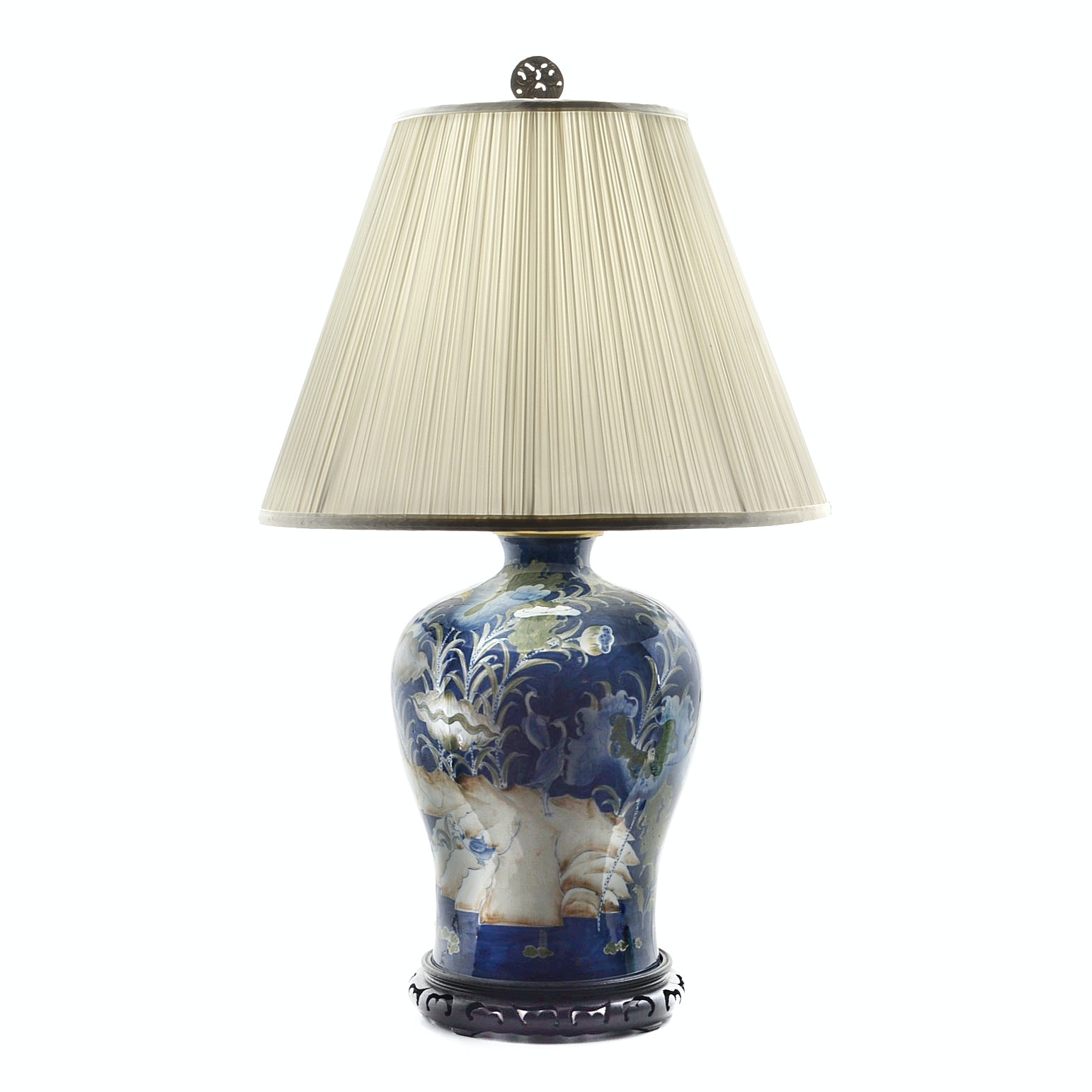 Hand Painted Porcelain Asian Style Vase Lamp