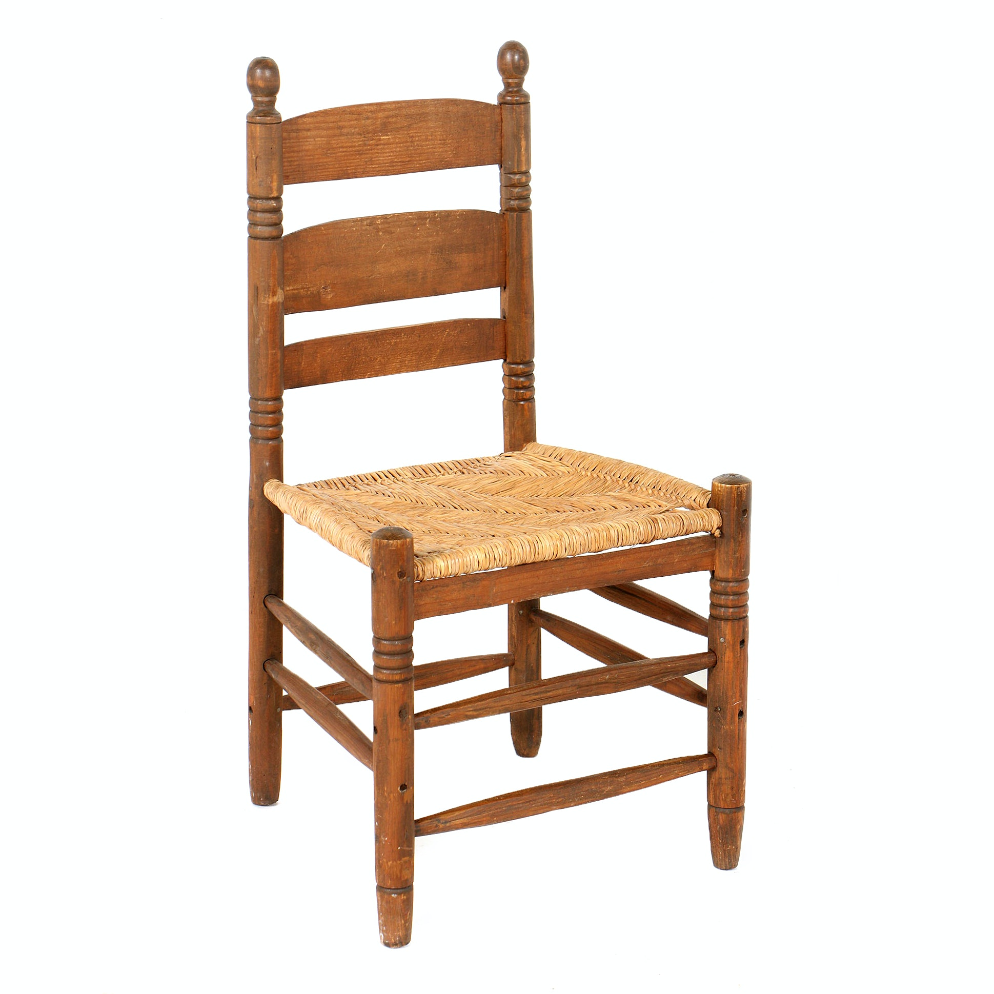 Vintage Child's Ladderback Side Chair with Rush Seat