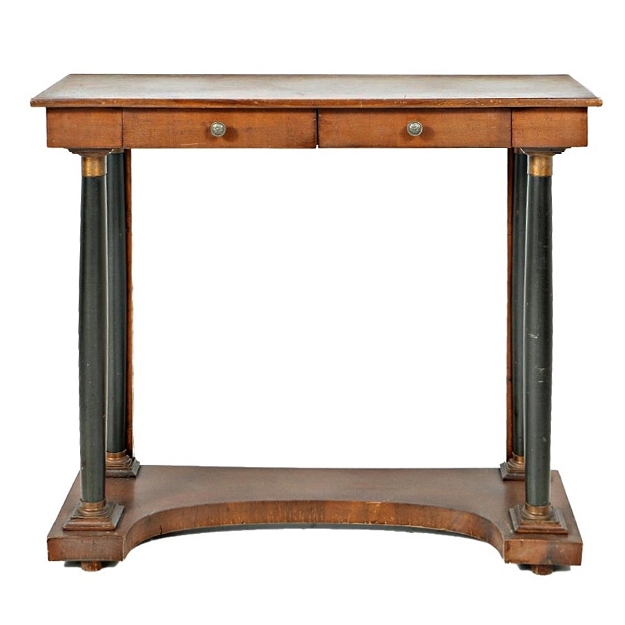 Vintage French Empire Style Two-Drawer Console Table