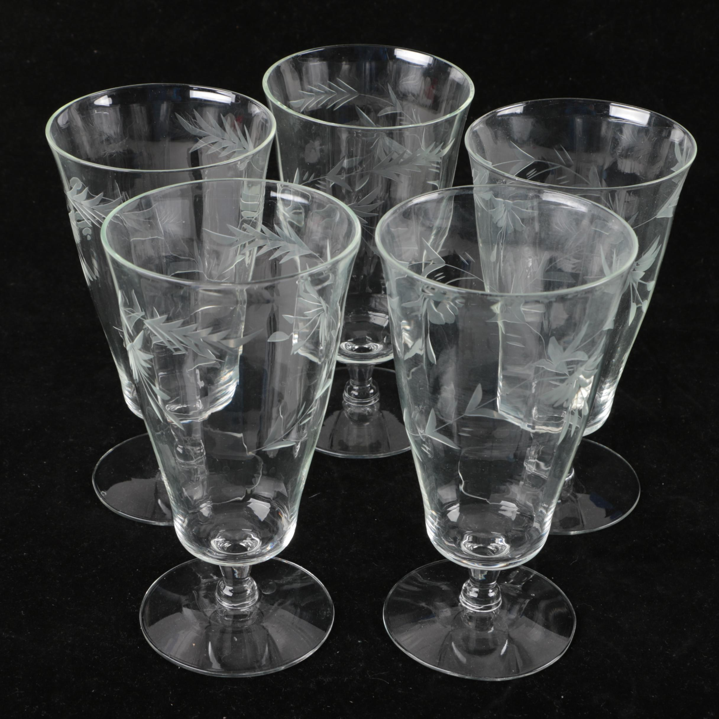 Etched Foliate Glass Water Goblets
