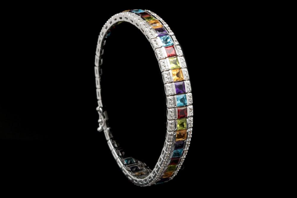 Robert Manse Sterling Silver and Multi Gemstone Bracelet