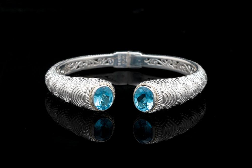 Robert Manse Sterling Silver, 18K Yellow Gold and Swiss Blue Topaz Cuff Bracelet