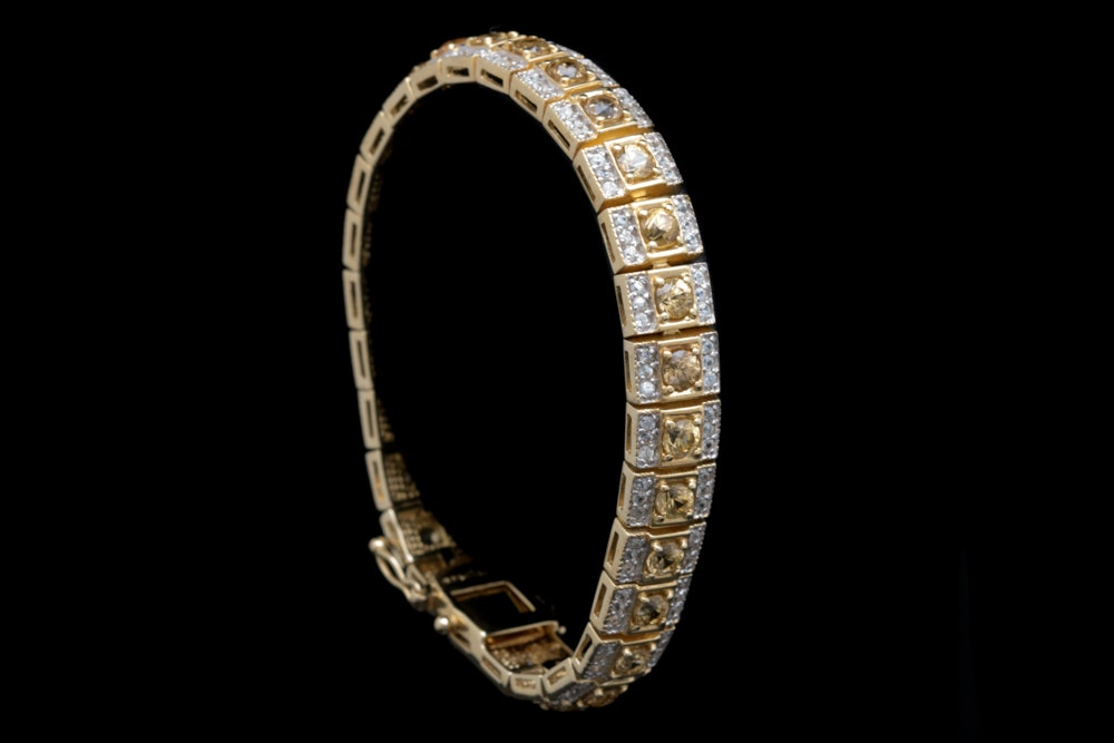 Gold Wash on Sterling Silver, Gold and White Zircon Bracelet