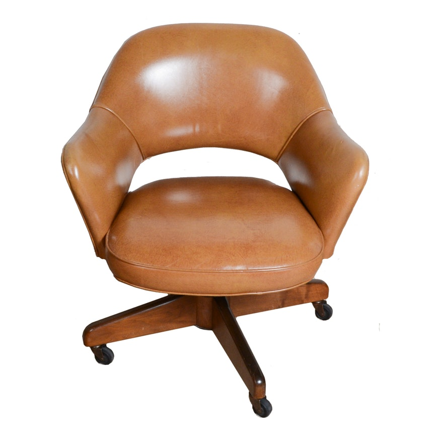 Mid Century Modernist High Back Or Desk Chair W New: Vintage Mid Century Modern Tan Leather Office Chair : EBTH