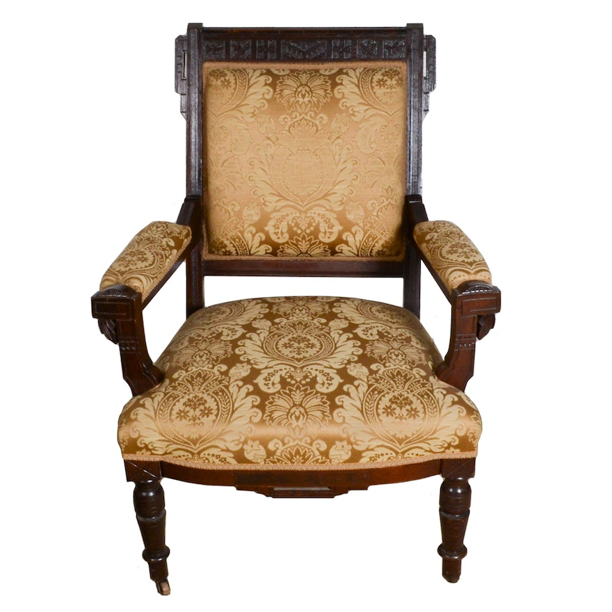 Antique Victorian Eastlake Walnut Upholstered Armchair ... - Antique Victorian Eastlake Walnut Upholstered Armchair : EBTH