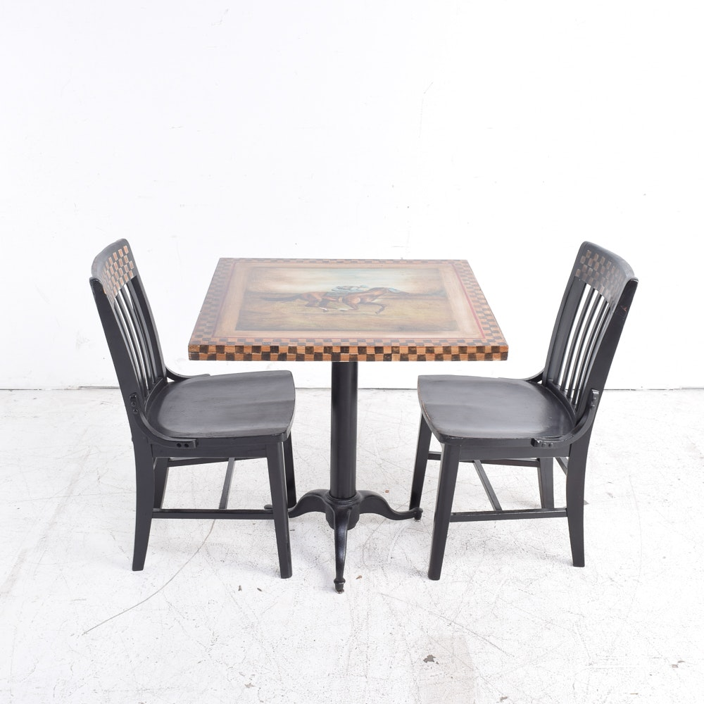 Equestrian Themed Hand-Painted Table and Two Chairs