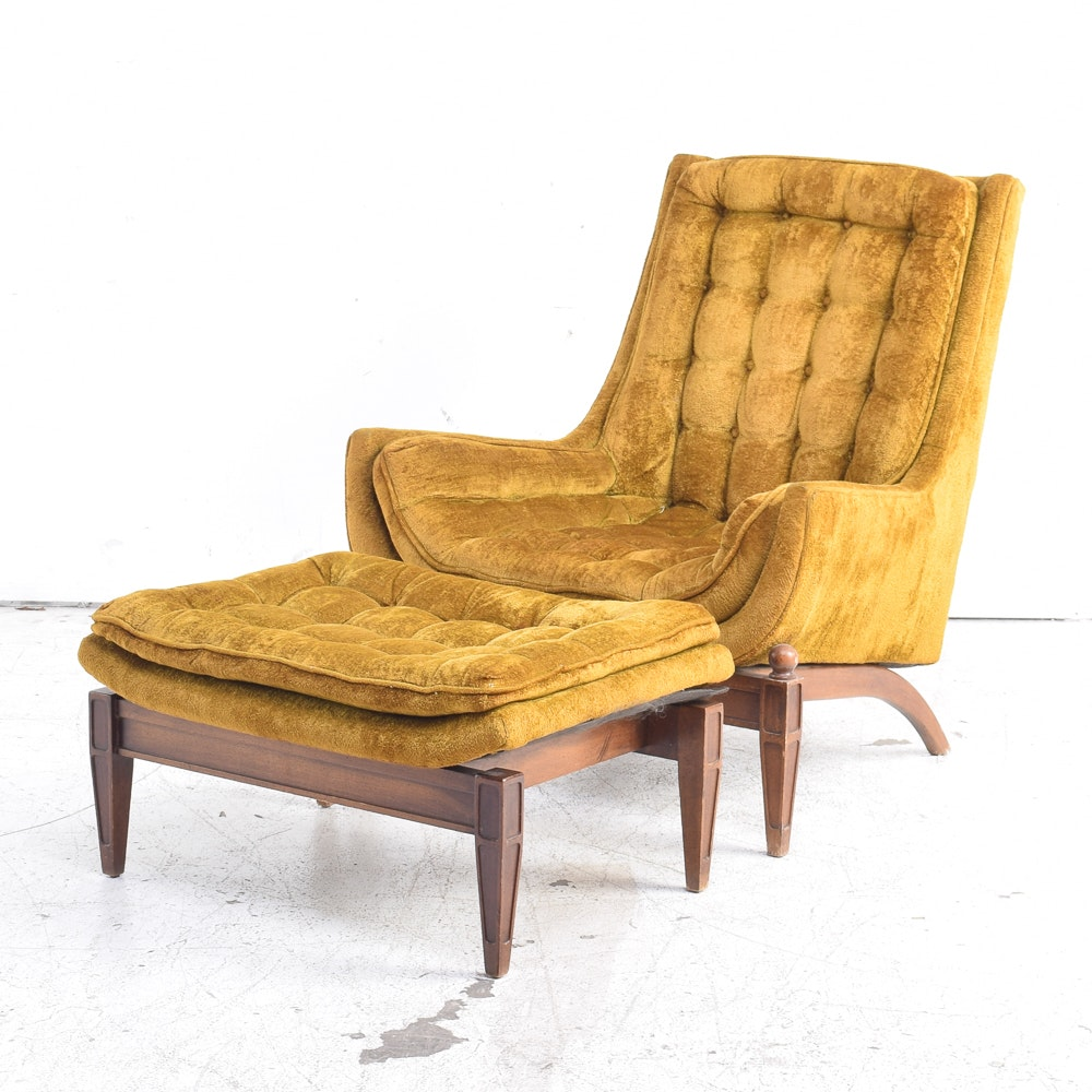 Mid Century Modern Club Chair with Ottoman by Sam Moore