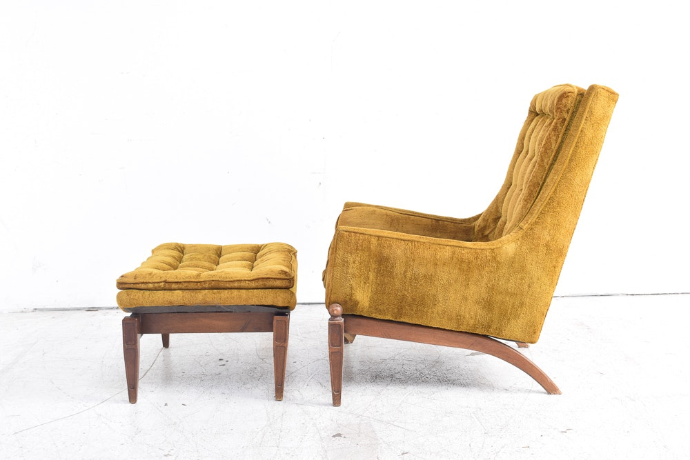 Mid Century Modern Club Chair With Ottoman By Sam Moore Ebth